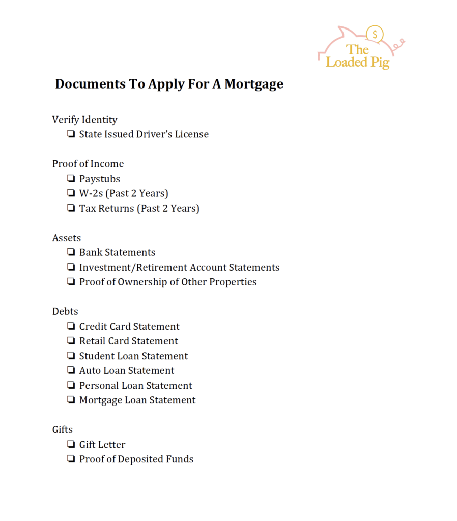 Checklist | Documents To Have Ready To Apply For A Mortgage | The Loaded Pig