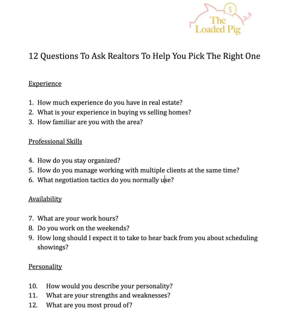 12 Questions To Ask Realtors To Help You Find The Right One | How To Choose The Right Realtor For You | The Loaded Pig